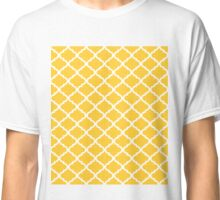 Mustard Yellow White Quatrefoil Pattern Classic T-Shirt