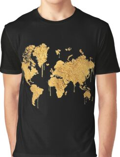 Gold World Map Graphic T-Shirt