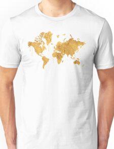 Gold World Map Unisex T-Shirt