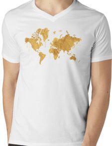 Gold World Map Mens V-Neck T-Shirt