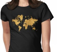 Gold World Map Womens Fitted T-Shirt