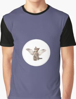 Cat Kitten Angel Wings Bubbles Cute Night Time  Graphic T-Shirt