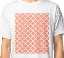 Coral Pink White Quatrefoil Pattern Classic T-Shirt