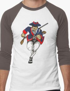 Red White and Blue Patriot Running Men's Baseball ¾ T-Shirt