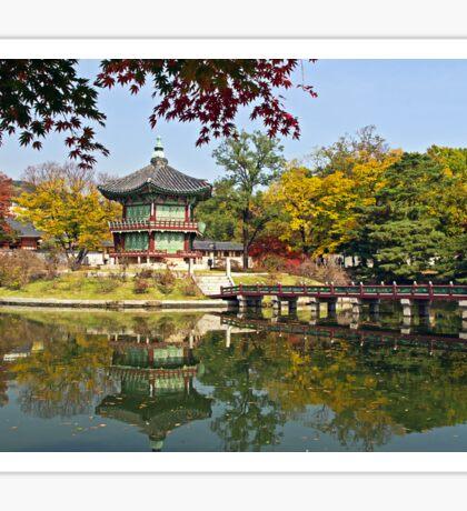 Hyangwonjeong Pavilion in Autumn Sticker