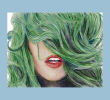 Green Haired Girl  Kids Tee