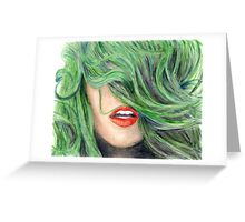 Green Haired Girl  Greeting Card