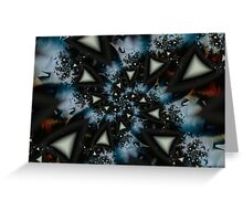 Blue White Triangle Spiral Greeting Card