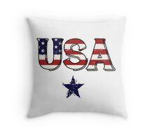 Red, White & Blue USA Design Throw Pillow