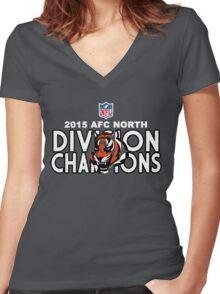 Cincinnati Bengals - 2015 AFC North Champions Women's Fitted V-Neck T-Shirt