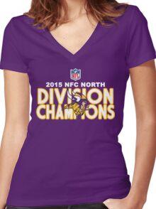 Minnesota Vikings - 2015 NFC North Champions Women's Fitted V-Neck T-Shirt
