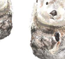 Sweet Loving Sea Otters Couple Sticker