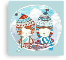 Winter hats mint Canvas Print