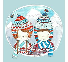 Winter hats mint Photographic Print