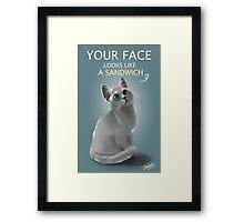 Sandwich face kitty Framed Print