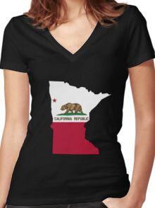 California flag Minnesota outline Women's Fitted V-Neck T-Shirt
