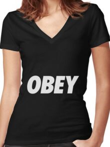 Another Obey.... Women's Fitted V-Neck T-Shirt