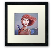 Pretty Girl And Her Bird Framed Print