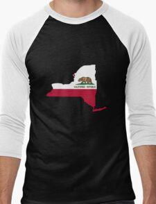 California flag New York outline Men's Baseball ¾ T-Shirt