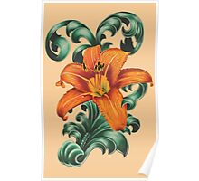 Lily with Filigree Poster