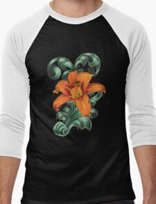 Lily with Filigree Men's Baseball ¾ T-Shirt