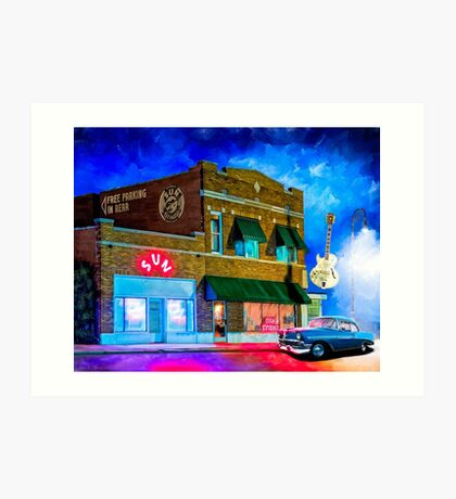 Musical Ghosts - Night Outside of Sun Studio in Memphis Tennessee Art Print