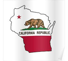 California flag Wisconsin outline Poster