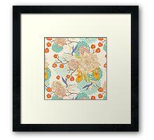 Peony Flower Pattern Framed Print