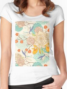 Peony Flower Pattern Women's Fitted Scoop T-Shirt