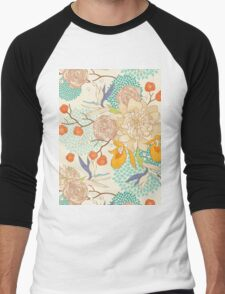 Peony Flower Pattern Men's Baseball ¾ T-Shirt