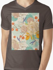 Peony Flower Pattern Mens V-Neck T-Shirt