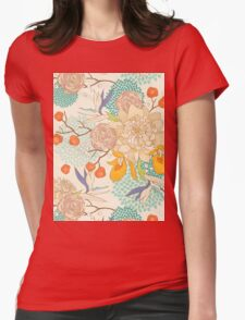 Peony Flower Pattern Womens Fitted T-Shirt