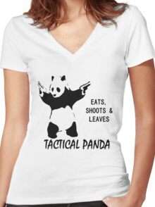 Tactical Panda Eats Shoots Leaves Women's Fitted V-Neck T-Shirt