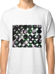 Black White Abstract with Green Classic T-Shirt