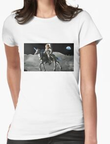 JFK Riding a Robot Unicorn on the Moon Womens Fitted T-Shirt