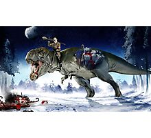 Hitler Riding a T. Rex in the Snow Photographic Print