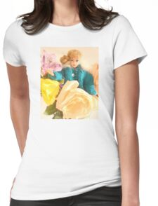 Vintage Barbie with Flowers Womens Fitted T-Shirt