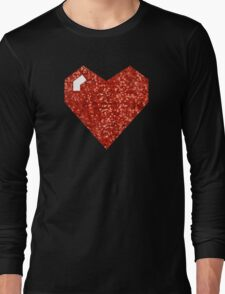 pixel valentines day heart Long Sleeve T-Shirt