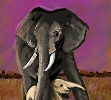 Elephant with baby by RaytheWicked