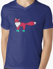 Little Red Fox goes rollerblading Mens V-Neck T-Shirt
