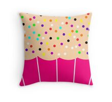 Pink Cupcake with Sprinkles Throw Pillow