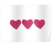 Pink Love Hearts in a Row Poster