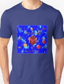 Christmas and New Year Card in Blue Unisex T-Shirt