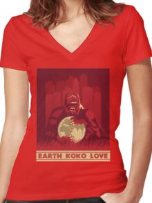 Earth Koko Love Women's Fitted V-Neck T-Shirt