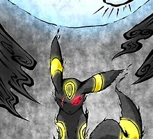 Pokemon Umbreon Ink Painting by Andrew Choo