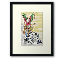 Pokemon Ho-Oh & Lugia Ink Painting Framed Print