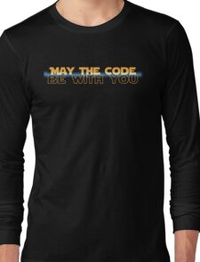 Geekit - IT shirts - May The Code Be With You(with blue) Long Sleeve T-Shirt