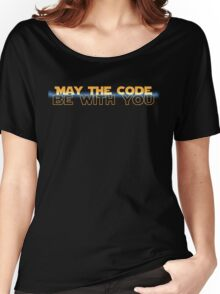 Geekit - IT shirts - May The Code Be With You(with blue) Women's Relaxed Fit T-Shirt