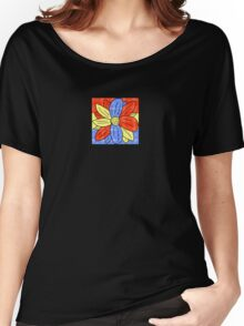 Flower Red Yellow Blue Women's Relaxed Fit T-Shirt