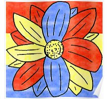 Flower Red Yellow Blue Poster